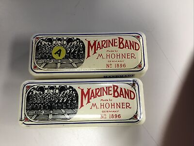 $49.95 • Buy Two Vintage M Hohner Marine Band Model 1896 Harmonica   Key Of A And G