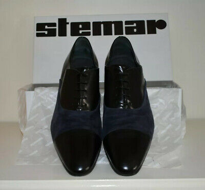 £75 • Buy Moreschi Klitsch P. Black Leather And Navy Suede Shoes UK 9.5.