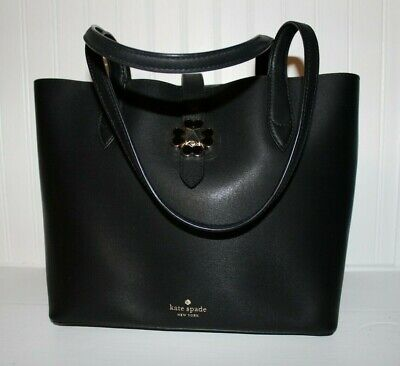 $ CDN37.81 • Buy Kate Spade Black Leather Purse With Turn Lock, Open Bag With Pink Leather Inside