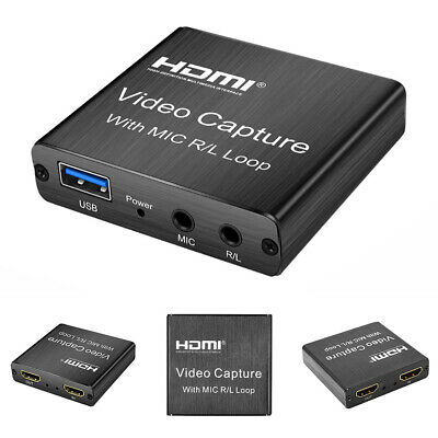60hz HDMI Video Capture Card Portable For Live Streaming Game Recording With Mic • 22.79£