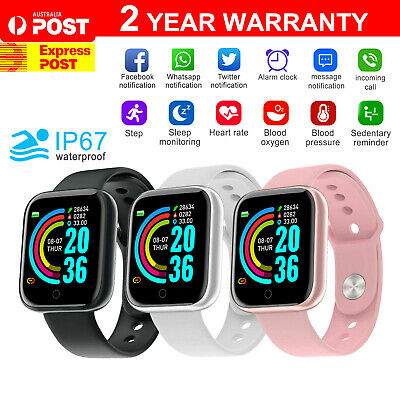 AU17.95 • Buy Smart Watch Bluetooth Heart Rate Blood Pressure IP67 Waterproof For IOS Android