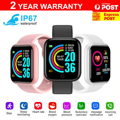 AU15.90 • Buy Smart Watch Bluetooth Heart Rate Blood Pressure IP67 Waterproof For IOS Android