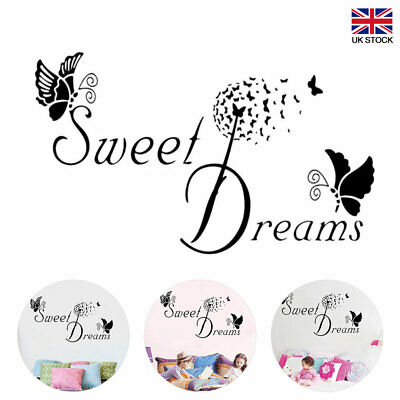 SWEET DREAMS Butterfly LOVE Wall Stickers DIY Bedroom Removable Home Decoration • 5.16£