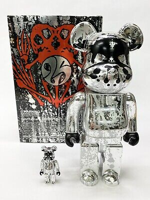 $280 • Buy Pushead Silver Anniversary WCC 21 2005 Bearbrick Set 400% And 100%