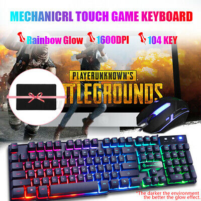 AU21.89 • Buy Gaming Keyboard Mouse Combo Backlit Rainbow LED Wired USB For Laptop Computer AU