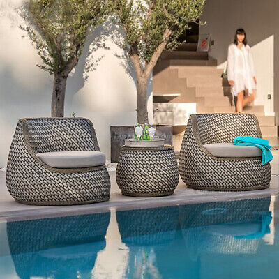 AU869 • Buy Outdoor Delux Furniture Lounge Wicker Chairs Table Bistro Patio Garden Cushioned