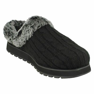 Skechers Womens Bobs Keepsakes Ice Angel Slip On Mule Slippers Black • 31.99£