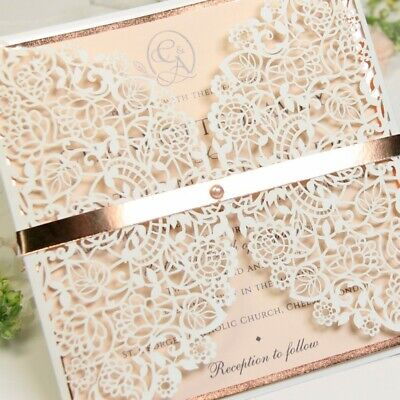 £1.99 • Buy Rose Gold Laser Cut Wedding Invitations With Envelopes Printable Template - Diy