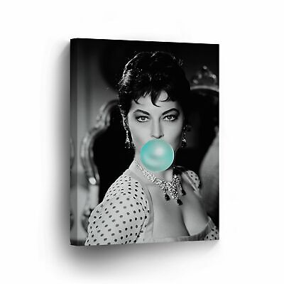Ava Gardner Teal Blue Chewing Gum Canvas Print Iconic Pop Art Wall Art • 143.99£
