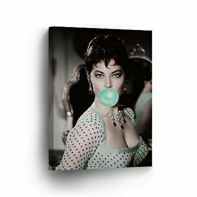 Ava Gardner Chewing Gum Canvas Print Iconic Pop Art Photo Wall Art Home Decor • 143.99£