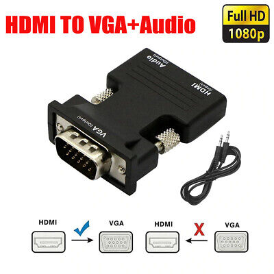 AU10.95 • Buy HDMI Female To VGA Male Converter Video Adapter Converter With Audio HD 1080P
