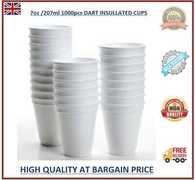 1000 Dart White Disposable Foam Polystyrene Cups Insulated Hot Cold Tea Coffee  • 29.99£