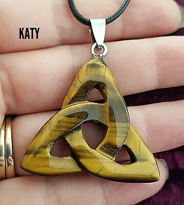 Tiger Eye Healing Celtic Trinity Knot Triquetra Pendant Black Cord Necklace Gift • 6.80£