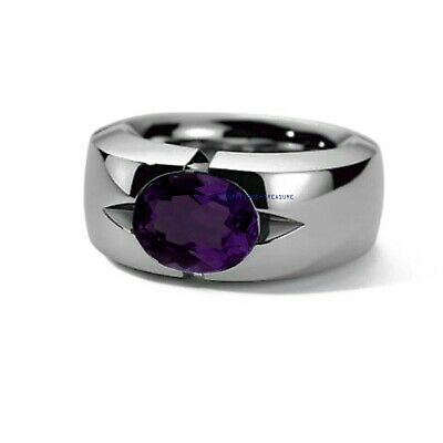 £60 • Buy Natural Amethyst Gemstone With 925 Sterling Silver Ring For Men's