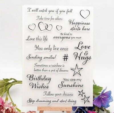 Sentiments Clear Stamp For Card Making, Scrapbooking, Journaling • 6£
