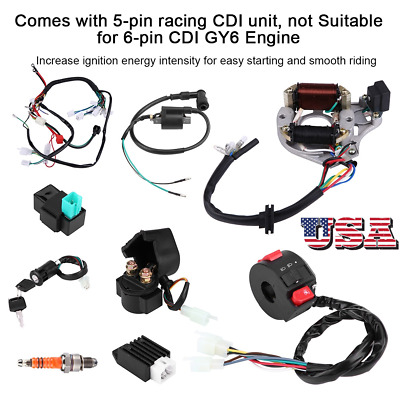 $36.92 • Buy Fit For ATV Electric QUAD 50 70 90 110 125CC CDI Harness Stator Assembly Wiring