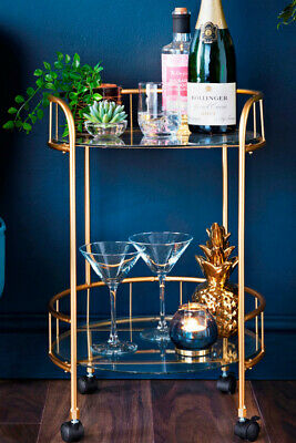£47.50 • Buy NEW Gold Drinks Trolley With Glass Shelves Mini Bar Cocktail Table Drink Table
