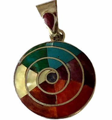 Pendant Peruvian Sterling Silver 950 Pachamama Spiral Crystacola Turquoise Coral • 23.08£
