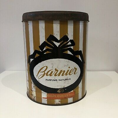 Antique Barnier Tin Box Lithographed Large Sweets Collectible Deco Kitchen • 35£