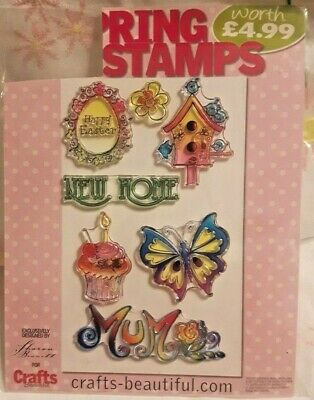 7 Spring Clear Stamps Happy Easter Mum Cupcake Birdhouse Butterfly New Home NEW • 2£
