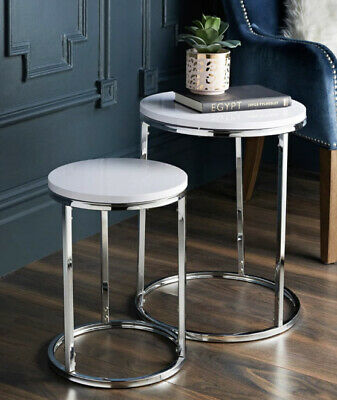NEW Stunning White High Gloss Nest Of 2 Side Tables With Chrome Legs & Top | UK • 53.89£