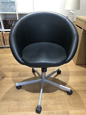 Ikea Skruvsta Black Faux-Leather Tilt/Swivel Office Chair - Great Condition • 50£