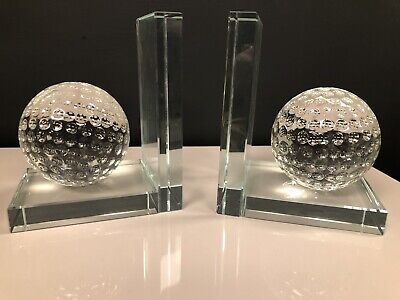 £45.49 • Buy Golf Crystal Bookends  Golfers Gift  Healing Sphere Bookend Pair In Crystal