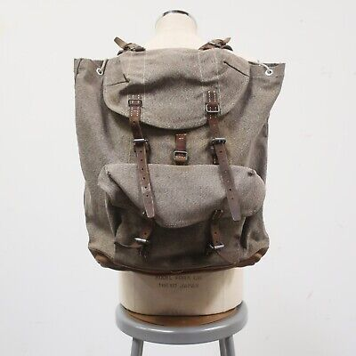 Vintage Swiss Army Military Leather Salt & Pepper Rucksack Backpack 60s • 134.76£