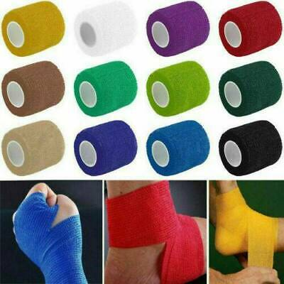 4.5M/Roll Cohesive Sports Self Adhesive Athletic Support Wrap Bandage Strap Tape • 1.69£