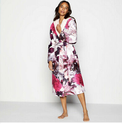 AU144.45 • Buy Ted Baker Pink Clove Floral Print Fleece Dressing Gown Size 12-14