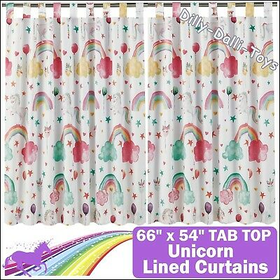Unicorn Rainbow Tab Top Lined Curtains 66  X 54  168cm 137cm White Pink Bedroom • 19.99£