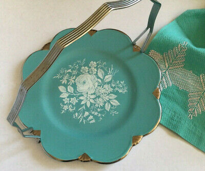 $ CDN19.99 • Buy 8  Royal Winton Grimwades Serving Plate Turquoise White Silver Handle