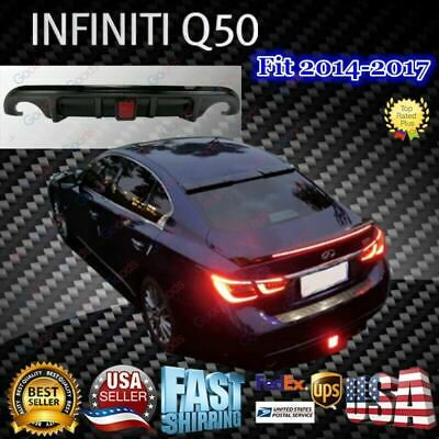 $ CDN240.47 • Buy Painted Gloss Black Rear Diffuser With LED Light For 2014-2017 Infiniti Q50