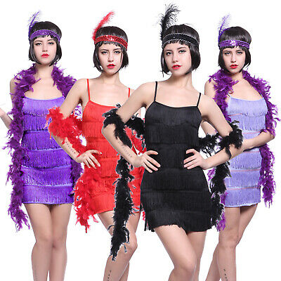 £12.99 • Buy Charleston Gatsby Fringed Flapper Dress 6 Tiered Tassel Party Outfit W/ Headband