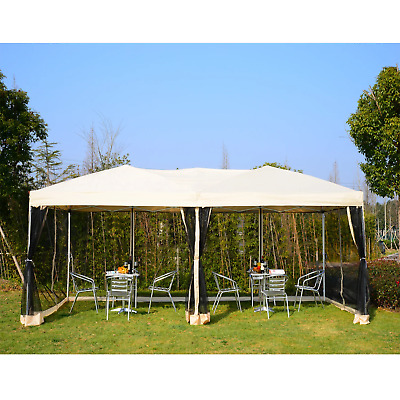 Beige Pop Up Gazebo 6x3 Waterproof Canopy Marquee Camping Tent Garden Portable • 205.99£