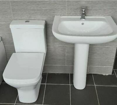 £129.99 • Buy Square Style Veneto Basin Sink And Ped + Sandy Rimless Compact Toilet Wc & Seat