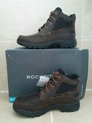 Mens Leather Rockport Hydro-Shield Waterproof Boots Chocolate UK 7 EUR40.5 NEW • 61.99£