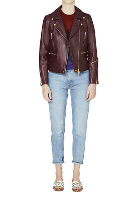 AU355.46 • Buy $1295 Rag & Bone Lamb Leather Insulated Jacket In Burgundy Size 0