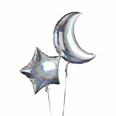 $7.55 • Buy SILVER IRIDESCENT MOON & STAR FOIL BALLOONS 600mm 24 INCH 2 PK SPACE ALIEN PARTY