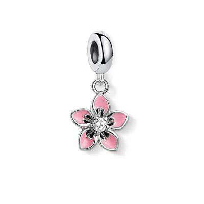 AU25.70 • Buy PINK FLOWER S925 Sterling Silver Charm By Charm Heaven NEW