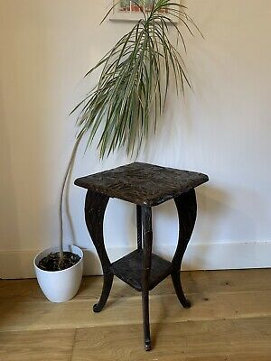 Liberty Of London Hand Carved Japanese Square Arts & Crafts Two Tier Side Table • 100£