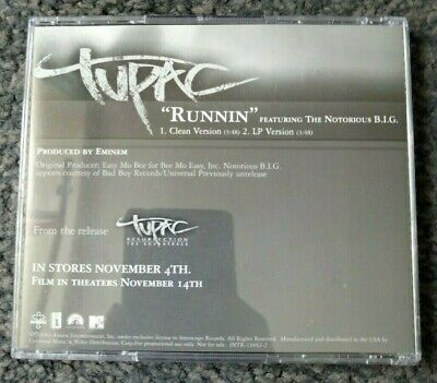 2Pac - Runnin Feat Notorious B.I.G (Promo CD Single) 2003 • 4.99£