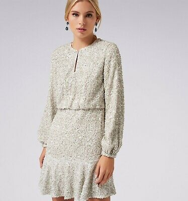 AU90 • Buy Forever New Sequin Party Flippy Hem Dress (silver) Size 6