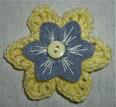 £3.50 • Buy CROCHET FLOWER CORSAGE BROOCH – Hand Crafted – Primrose Yellow+ Embroidered Felt