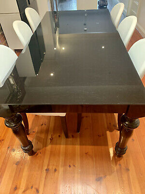 AU250 • Buy Black Dining Table With Six White Leather Chairs