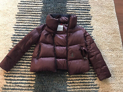 AU581.66 • Buy MONCLER Burgundy Down Puffer Winter Short Jacket Size 0 Broken Zipper