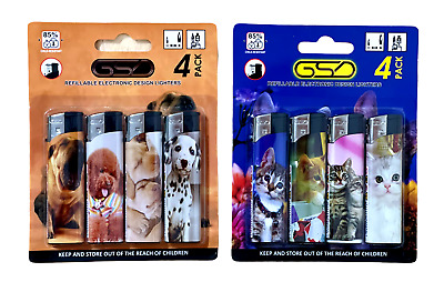 £2.99 • Buy 4 Pack Refillable Electronic Design Lighters Adjustable Flame Child Safety