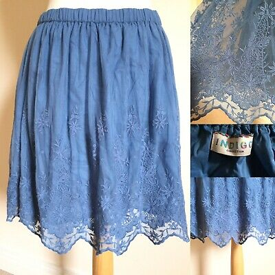 "M&S Indigo Blue Net LACE Embroidered Flare MINI Skirt Sz 14 L20"" BOHO Party B12 • 14.99£"