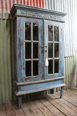 AU596.25 • Buy A Vintage Glazed Bookcase Display Cabinet In Antique Blue Finish