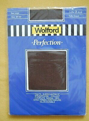Vintage Wolford Perfection Tights Size Large (3) Colour Black Tulip • 7.99£